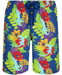 Men Long classic Printed - Men Long Swim Trunks Les Geckos, Batik blue front