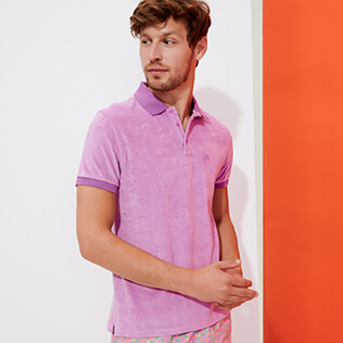 Men Others Solid - Men Terry cloth Polo Shirt Solid, Pink berries supp1