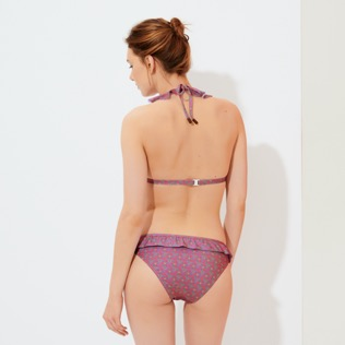 女款 Classic brief 印制 - 女士 Indian Ceramic 荷叶边比基尼三角泳裤, Pink berries backworn