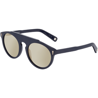 Sunglasses Solid - Gold Mirror Sunglasses, Navy back