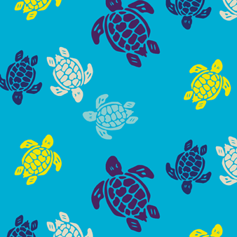 Multicolor Turtles Swim shorts, Azure pattern