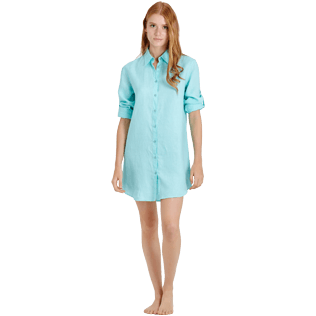 Women Others Solid - Women Long Linen Shirt Solid, Lagoon supp3