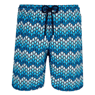 Men Long classic Printed - Men Swim Trunks Long Herringbones Turtles, Navy front