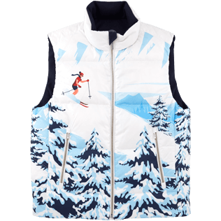 Men Vests AND Jackets Printed - Ski Resort Sleeveless vest, Navy front