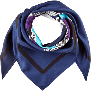 Others Printed - Silk Scarf Ostend, Navy front