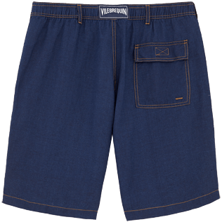 Men Shorts Solid - Indigo Straight bermuda, Indigo back