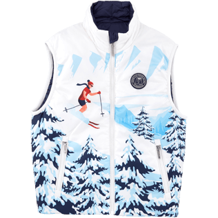 Boys Vests AND Jackets Printed - Ski Resort Sleeveless vest, Navy front