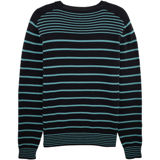 Men Sweaters Graphic - Cotton crew neck sweater, Navy / turquoise back