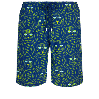 Men Long classic Printed - Men Long Swim Trunks Bengale Tigers, Batik blue front