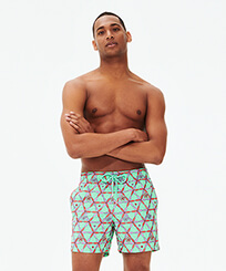 Men Classic Embroidered - Men Swim Trunks Embroidered Indian Ceramic - Limited Edition, Cardamom frontworn