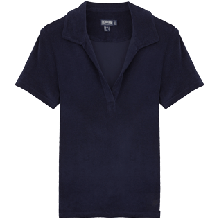 Women Others Solid - Women Terry Cloth Polo shirt Solid, Navy front