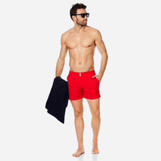 Men Flat belts Solid - Men Swimwear Short Flat Belt Stretch Prince de Galles, Medicis red supp2