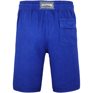 Men Others Solid - Men Italian Pockets Linen Bermuda Shorts Solid, Neptune blue back