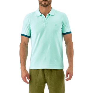 Men Others Solid - Cotton pique polo, Lagoon supp1
