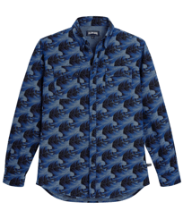 Men Others Printed - Men Chambray Shirt Waves, Navy front