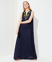 Women Others Printed - Women Long Linen Cotton Cover-up Sweet Fishes Embroideries, Navy frontworn
