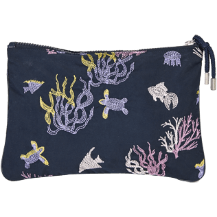 Others Embroidered - Zipped Beach Pouch Coral and Turtles, Navy back