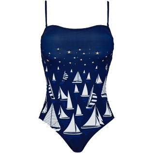 Women One piece Embroidered - Women bustier one piece swimsuit Porto Cervo, Navy front