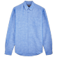 Men Others Solid - Men Cotton Linen Shirt Solid, Neptune blue front