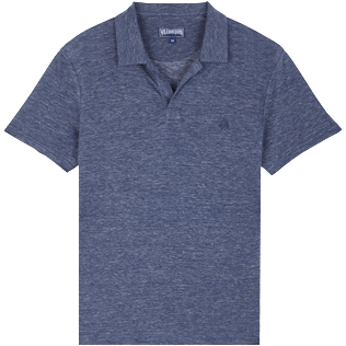 Men Others Solid - Men Linen Jersey Polo Shirt Solid, Dark heather blue front