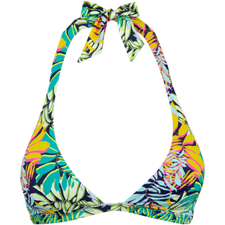 Donna Foulard Stampato - Top bikini donna all'americana Jungle, Midnight blue front