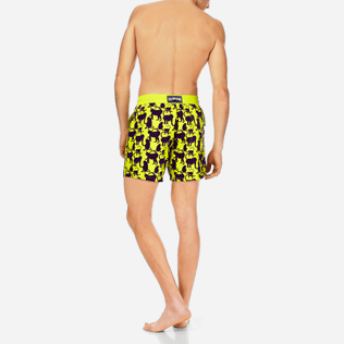 Men Classic Printed - Men Swimwear Flocked Happy Monkey, Chartreuse backworn