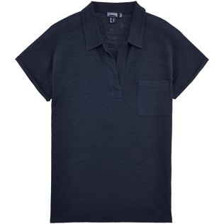 Women Others Solid - Solid Linen Jersey Polo, Navy front