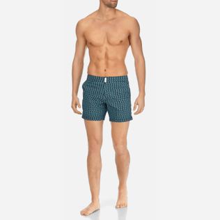 Men Flat belts Printed - Men Short and Fitted Stretch Swimwear Modernist Fish, Navy frontworn