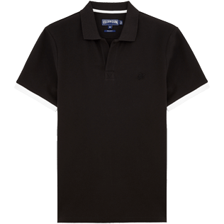 Men Polos Solid - Solid Cotton pique polo, Black front