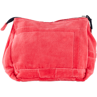 Others Solid - Zipped beach pouch in terry cloth solid jacquard, Hibiscus back