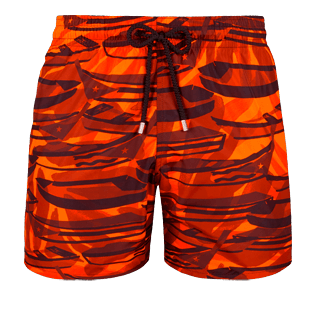 Men Ultra-light classique Printed - Men Ultra-Light and packable Swimwear Comporta, Neon orange front