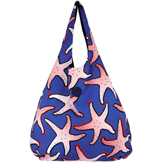 Bags Printed - Oversize Lightweight Foldable Bag Starfish Art, Neptune blue frontworn
