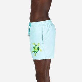 Men Embroidered Embroidered - Men Swimtrunks Placed Embroidery Mosaic Turtles, Lagoon supp3