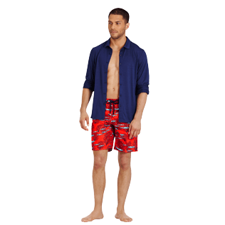 Men Long classic Printed - Men Swimwear Long Coral & Fish, Medicis red supp2