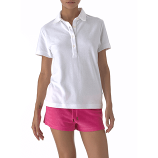 Damen Polos Uni - Uni Frottee-Polohemd, Weiss frontworn