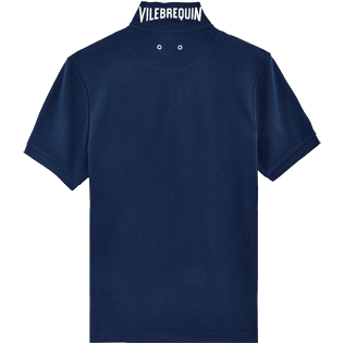 Men Others Solid - Men Cotton Pique Polo Shirt Solid, Navy back
