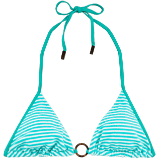 Women Tops Graphic - Striped Terry Triangle shape bikini top, Lagoon front
