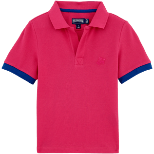 Boys Polos Solid - Solid Cotton pique polo, Shocking pink front