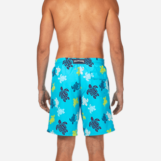 Men Long Printed - Tortues Multicolores Long Cut Swim shorts, Azure supp2