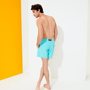 男款 Classic 绣 - Men Swimwear Placed embroidery Evening Birds, Lazulii blue backworn