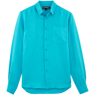 Men Others Solid - Men Linen Shirt Solid, Azure front