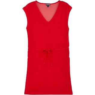 Women Others Solid - Women Short Cotton Dress Solid, Red polish front
