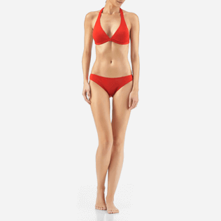 Women Tops Solid - Solid shaping swimwear Top, Poppy red frontworn