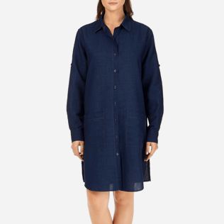 Women Dresses Solid - Indigo Long Linen Shirt, Indigo supp1