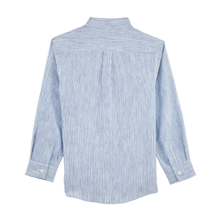 Boys Others Graphic - Striped Linen Round collar shirt, Sky blue back