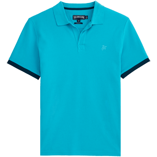 Men Polos Solid - Cotton pique polo, Azure front