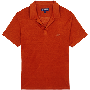 Men Others Solid - Men Linen Jersey Polo Shirt Solid, Paprika front