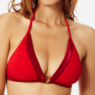Donna Foulard Unita - Top bikini donna all'americana Tuxedo, Red polish supp1