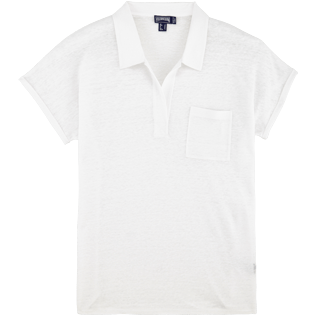 Women Others Solid - Women Linen Jersey Polo shirt Solid, White front