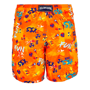 Men Classic / Moorea Embroidered - Men Swimtrunks Printed and Embroidered Sea Sex and Fun - Limited Edition, Kumquat back